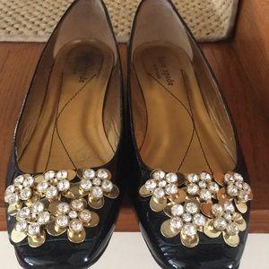 Kate Spade Crystal Gold Flower Black Patent Flats